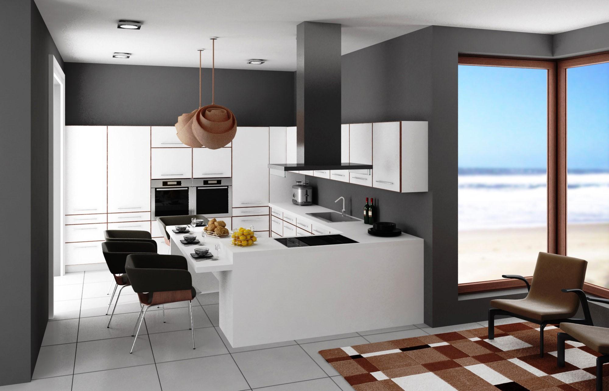 As cozinhas de estilo moderno são compostas por móveis lisos que  #0D75BE 2000 1283