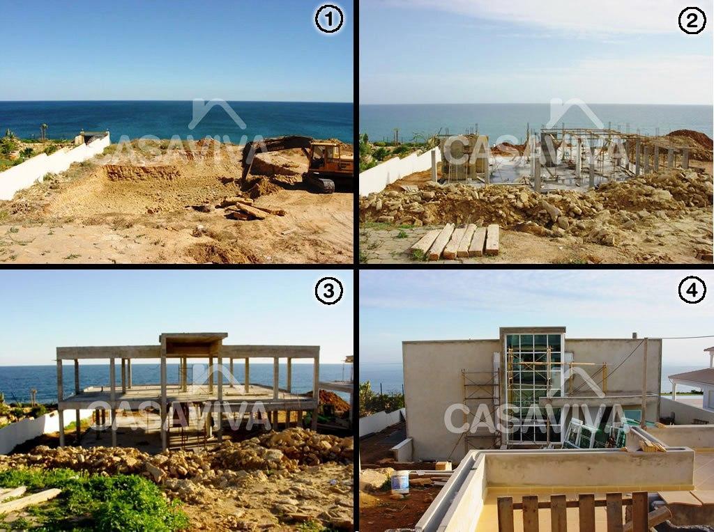 Obras de construção de estrutura de moradia.