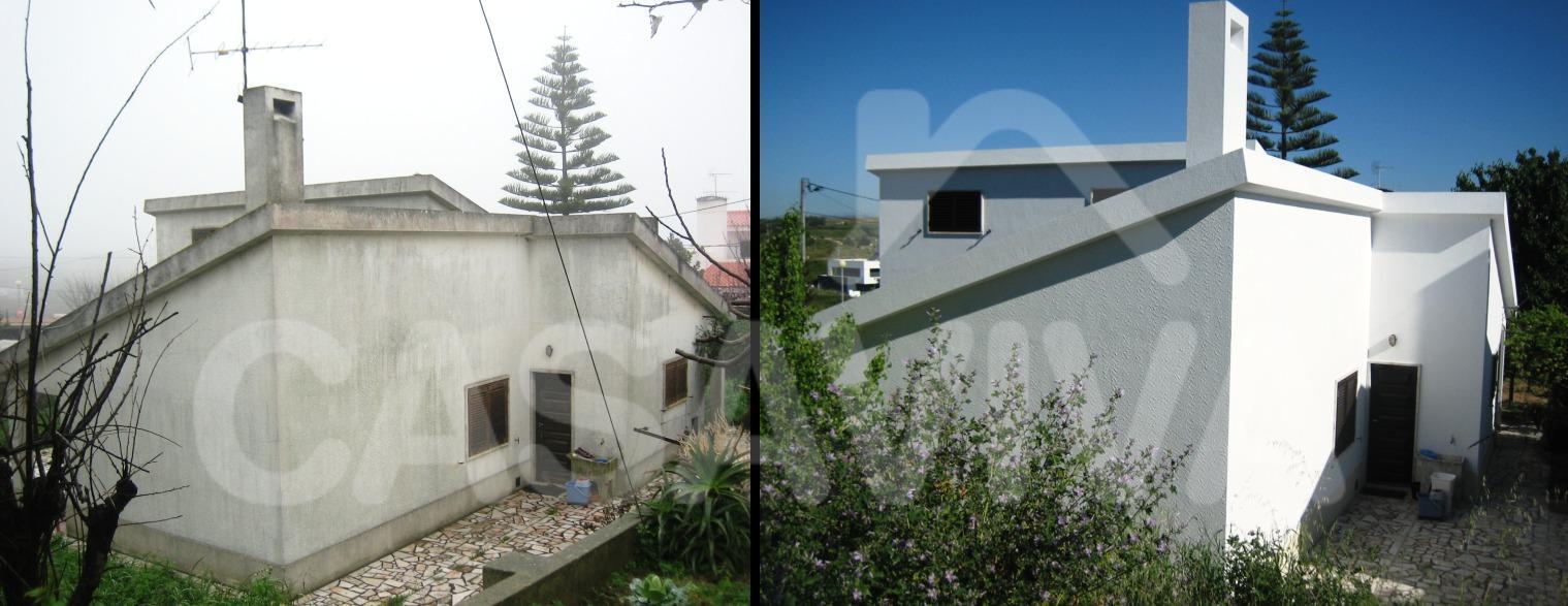 Todos os paramentos verticais exteriores da moradia receberam uma limpeza geral e um sistema de pintura adequado.