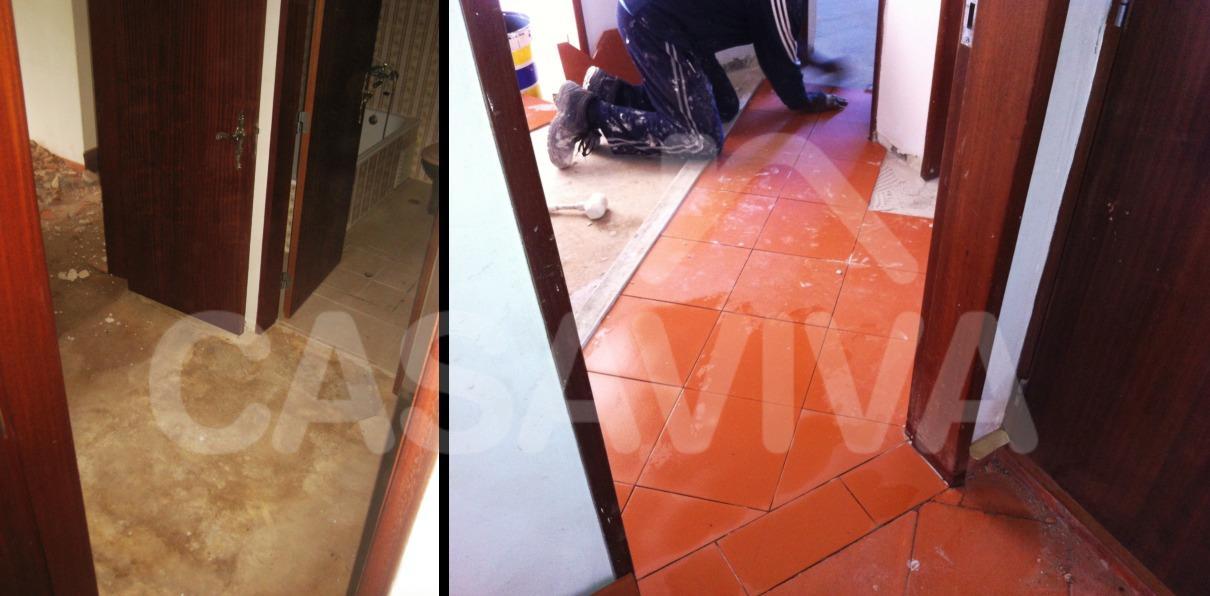 Foi colocado um novo revestimento cerâmico ao nível do pavimento em alguns espaços da casa.