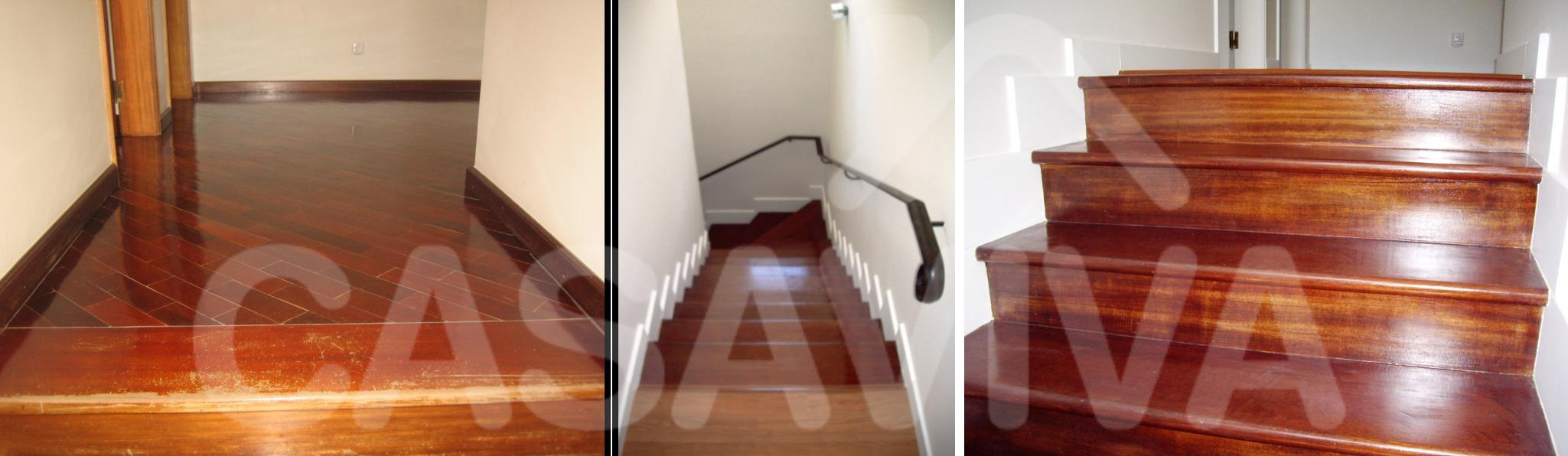 Recuperou-se a escadaria em madeira para acesso ao piso superior.