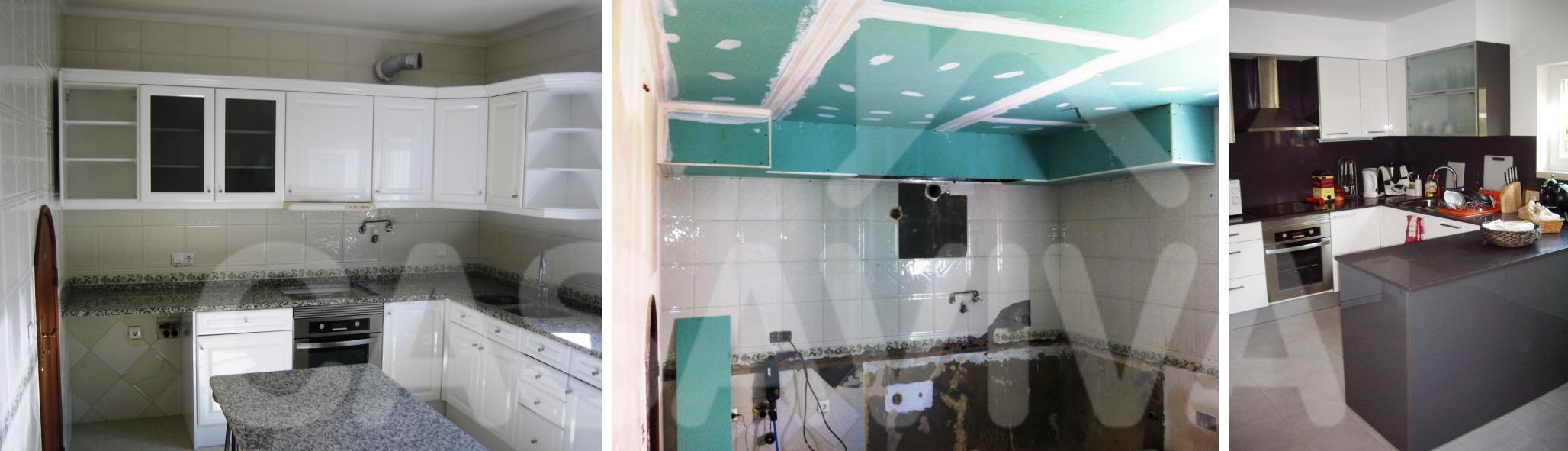 Na cozinha foram colocados novos revestimentos cerâmicos e placas de isolamento em Pladur.