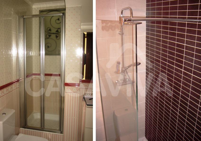 Nesta casa de banho foi executado um novo sistema de duche.