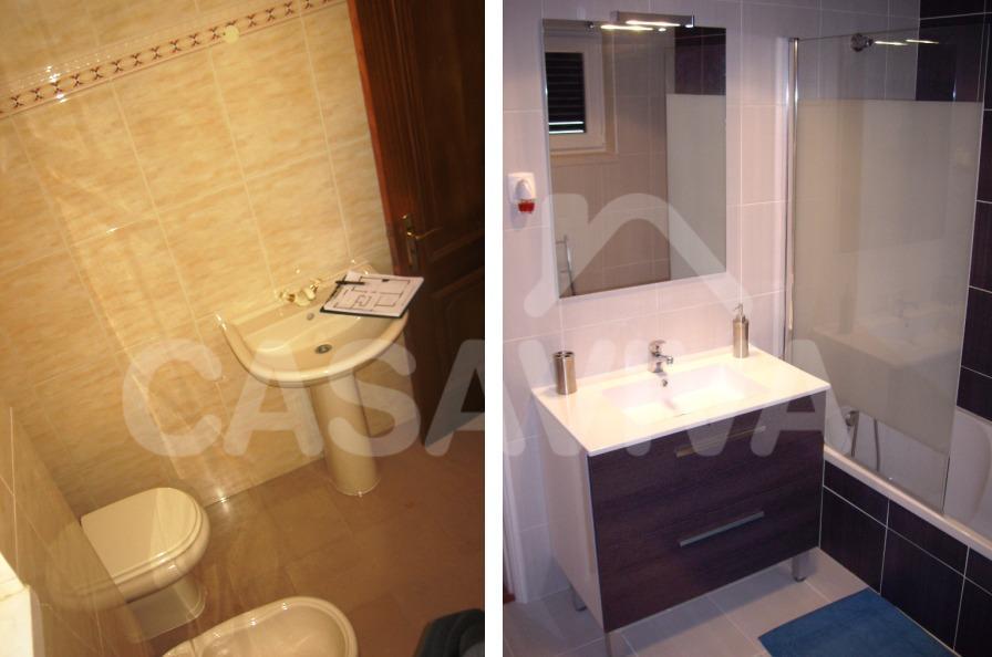 Esta casa de banho foi pensada de forma a haver uma reorganização do espaço.
