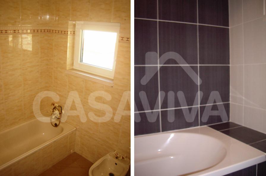 Na casa de banho foram substituídos os revestimentos antigos e colocados novos revestimentos cerâmicos.