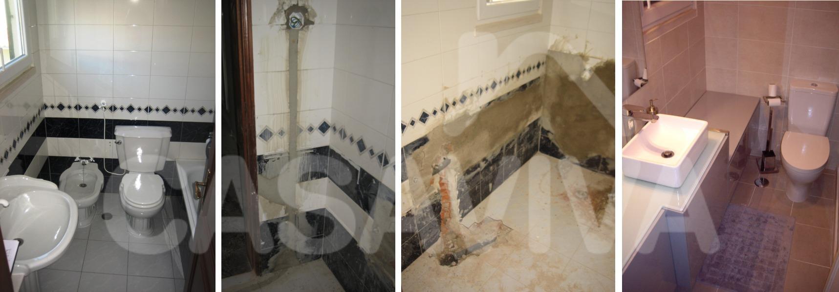 As imagens mostram a evolução dos trabalhos executados nesta instalação sanitária.
