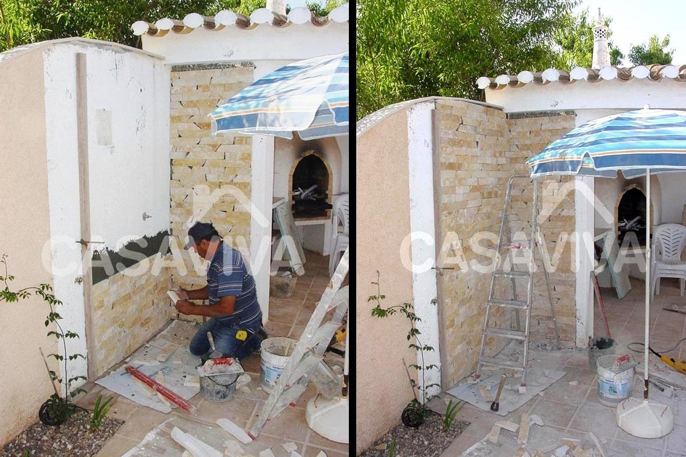 ideias jardins moradias : ideias jardins moradias:Remodelação de espaço exterior.Revestimento de parede com pedra