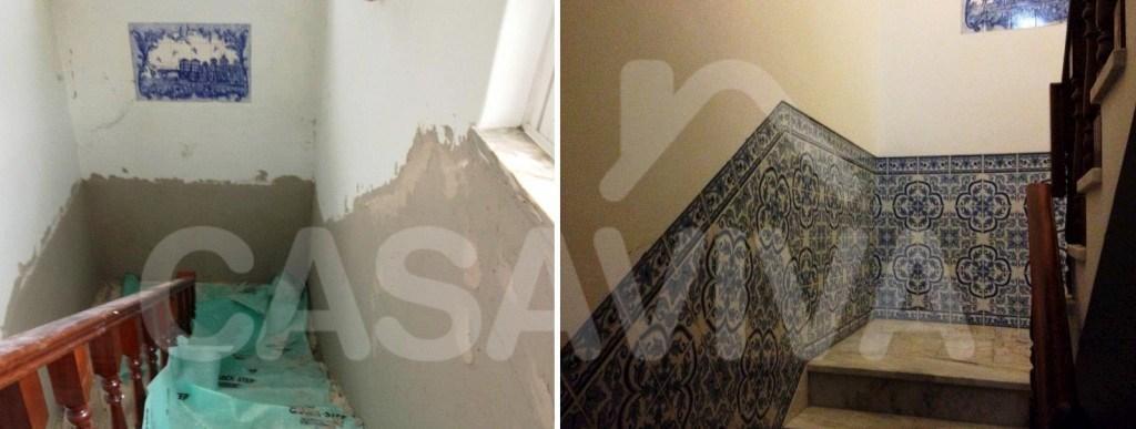 Foram aplicados azulejos decorativos nas paredes da caixa de escadas.
