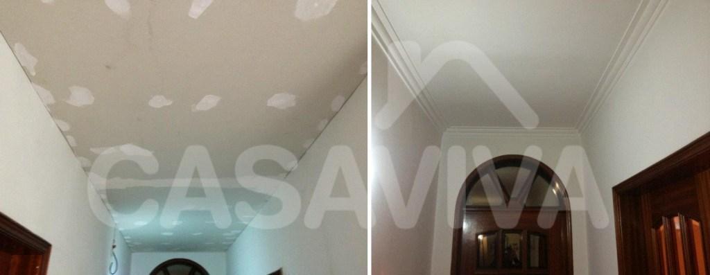 Nos tectos da zona do corredor foram aplicadas placas de isolamento e um sistema de pintura adequado.