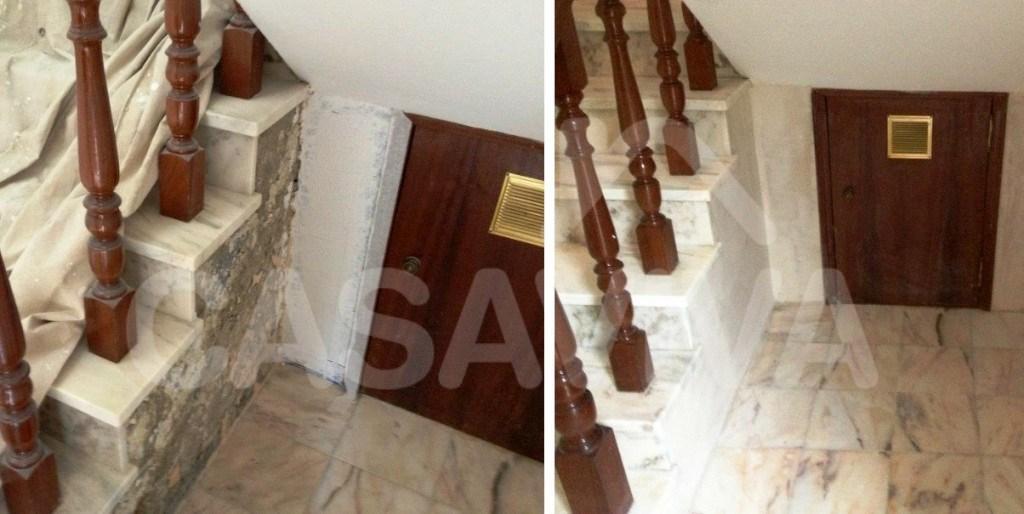 Foi colocado novo revestimento pétreo em mármore em algumas zonas da escadaria e efectuaram-se todos os trabalhos necessários a um perfeito acabamento.