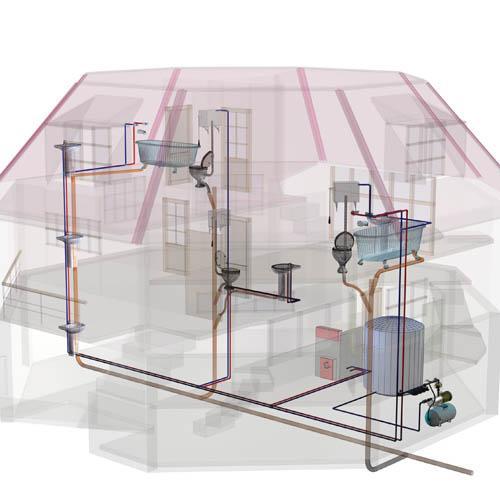 A canalização de uma habitação inclui a Rede de Água, a Rede de Drenagem de Águas Residuais e a Rede de Gás.