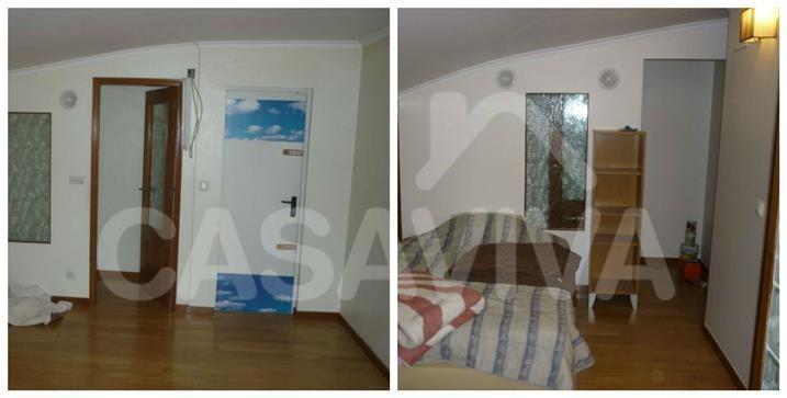 Num dos quartos foi executada uma parede de forma a criar uma reorganização do espaço pretendida pelo Cliente.