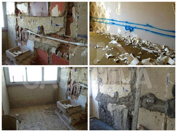 Processo de remoção dos revestimentos antigos e marcação das zonas para a passagem das instalações especiais.