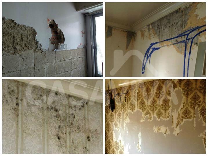 As imagens inferiores demonstram anomalias como manchas de humidade e degradação dos revestimentos nos paramentos verticais.