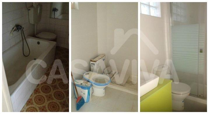 As imagens mostram a sequência das intervenções realizadas na casa de banho ao longo do tempo.