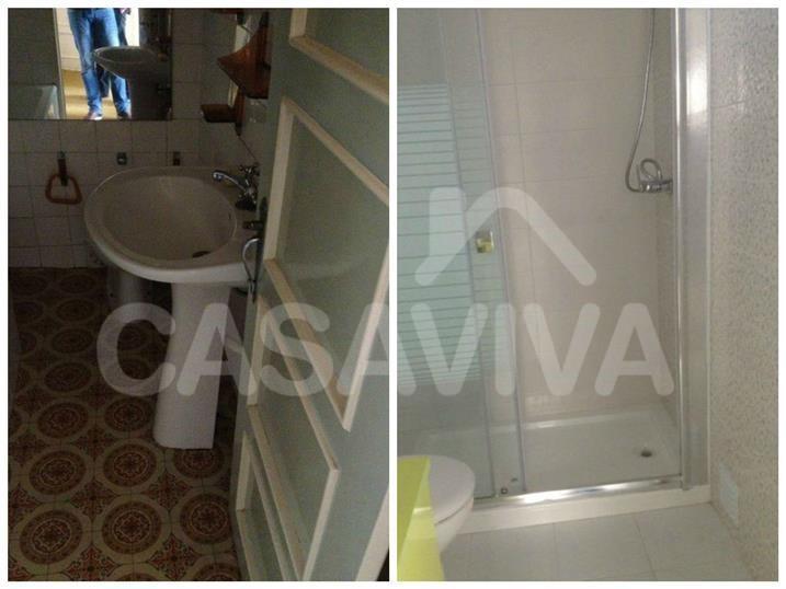 As imagens mostram o contraste entre os estados inicial e final da casa de banho.