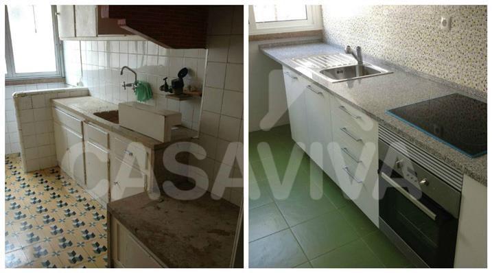 As imagens mostram o contraste entre os estados inicial e final da cozinha.